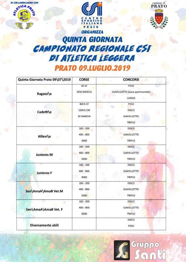 Quinta Giornata Campionato Regionale CSI di Atletica Leggera - Prato - 9 luglio 2019